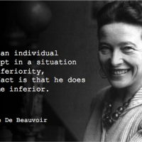 when a person is kept in position of inferiority - Simone de Beauvoir