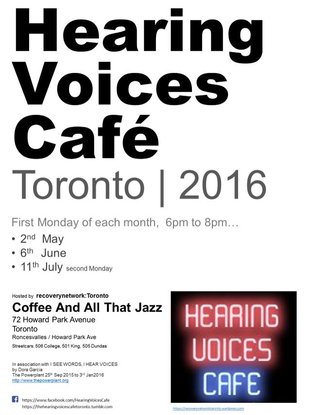 Hearing Voices Cafe Toronto May-Jul2016